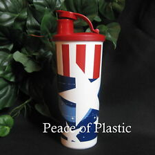 TUPPERWARE NEW Flag USA 16 Oz Red White Blue Tumbler w RED Flip-Top Seal Cup