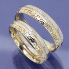 585 Bicolor Trauringe Eheringe Hochzeitsringe Flora mit Millgriff