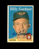 Billy Gardner Hand Signed 1958 Topps Baltimore Orioles Autograph