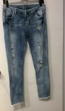 Almost Famous Womens Skinny Jeans Sz 9 Low Rise Distressed Ripped Blue-raw Hem
