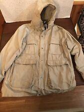 VINTAGE WOOLRICH MENS MEDIUM JACKET Gray w/ Blue Nylon Cotton Lightweight Coat