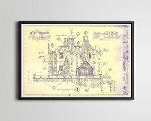 "Haunted Mansion Disney World Blueprint POSTER! (up to 24"" x 36"") - Magic Kingdom"