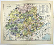Original Philips 1882 Map of The County of Perth, Scotland