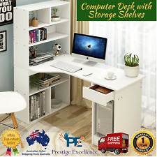 Large Combination Workstation Computer Desk with Storage Spacious Shelves -White
