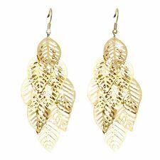Gold Toned Multi-Leaf Drop Earrings Pierced Wire Hook