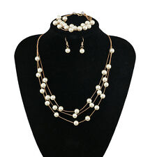 Fashion Pearl Jewelry Set - Necklace, Earrings, and Bracelet