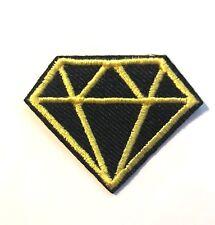 Ecusson patch diamant jaune et noir thermocollant custom DIY