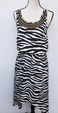 Michael Kors Size 4 Zebra Stripe High Low Dress Beaded Neckline Cruise Dress