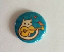 CAT PLAYING GUITAR BUTTON PIN HELPS FEED FERAL CATS RESCUED KITTENS REC CHARITY