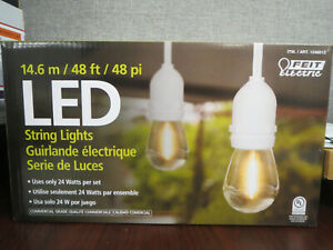 Feit Electric 48 FT LED Outdoor String Lights patio lights (24 Bulbs) ~NOB~