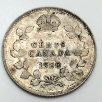 1920 Canada Small 5 Five Cents Silver Circulated Canadian Coin D460