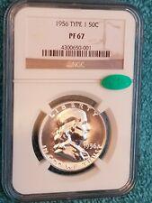 """RARE"" 1956 NGC ""CAC"" PF67 TYPE 1 Silver Franklin Half Dollar ~"