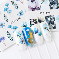 24 Sheets DIY Nail Art Stickers Watercolor Water Transfer Decals Flowers Tips JT
