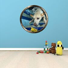 "24"" Porthole Ocean Window DOG UNDERWATER #3 ROUND Wall Sticker Decal Art Graphic"
