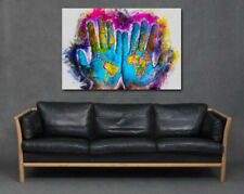 World Map on in Hands Bright Colourful Painting Print Art Canvas Earth Home Big