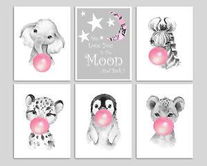 Safari Animals Blowing Bubblegum Baby Nursery Prints Children's Bedroom Wall Art