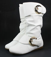 klein-78k Buckles Zipper Kids Youth Combat Synthetic Flats Boots Shoes White 1