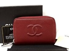 NEW CHANEL Coin Case Wallet Caviar Skin Bordeaux CC Logo Italy 21150544500 YP