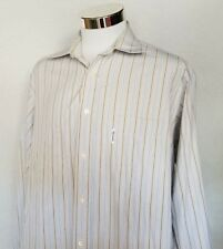 Faconnable XL Brown Blue Striped Long Sleeve Dress Shirt Casual