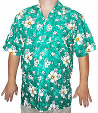 Hawaiian Shirt Green Flower Floral Stag Party SMALL