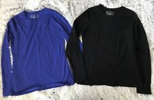 Lot of 2 Tek Gear Women's Medium Long Sleeve Athletic Shirts Blue Black