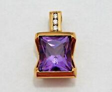 14K Gold Diamond Amethyst Pendant 11mm x 9mm Amethyst .06 ct. diamonds 6.4 grams