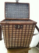 Wicker Picnic Basket - with leather shoulder strap and leather & brass fastener
