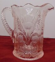 Vintage Mosser Glass Pink Inverted Thistle 6 3/4 inch Pitcher Made in USA