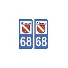 68 Haut Rhin autocollant plaque droits