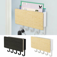 Key Holder Mail Rack Wall Mount Hooks Entryway Mail Organizer Rack Letter Sorter