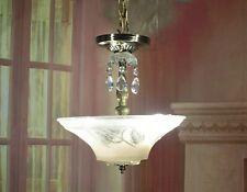 Antique Vintage Chandelier Art Deco Glass Pendant 2 Light Fixture Pink Petite