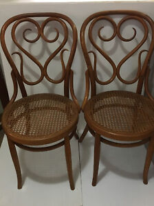 2 VTG Salvatore Leone Bentwood Side Chairs Made in ItalyHeart Ice Cream Parlor