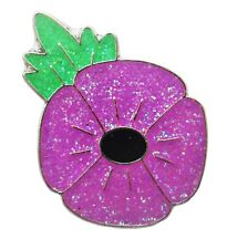 PURPLE GLITTER POPPY ENAMEL PIN BADGE ANIMALS IN WAR REMEMBRANCE BRITISH ARMY