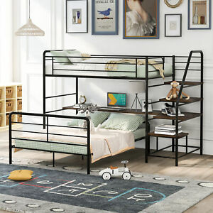 Loft Bed Frame with Desk and Ladder and Separate Platform Bed Twin Over Full