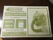 Military Surplus Civil Defense Gas Mask  Size Extra Large With Filters Bag Child