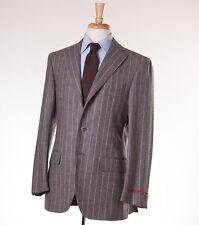 NWT $1695 PAL ZILERI Heather Gray Chalkstripe Flannel Wool Suit 40 R (Eu 50)