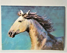 Horse on the blue horizon ACEO Original Anmal PAINTING by Leslie Popp