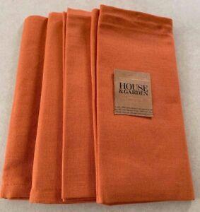 HOUSE & GARDEN 18 X 18 cotton set of 4 solid pumpkin orange table Napkins NWT