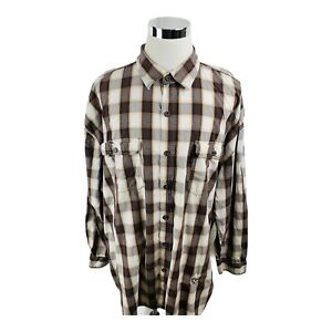 Phat Farm Classic Beige Brown Long Sleeve Button Front Shirt Men's 4X BIG
