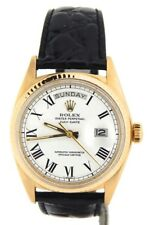 Mens Rolex Day-Date President 18K Yellow Gold Watch Black Band White Roman 1803