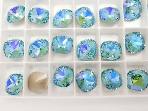 Light Turquoise Illumine F (12mm) Swarovski 4470 Cushion Cut Stone