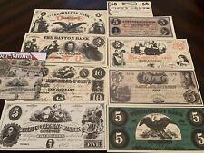 CIVIL WAR Currency: Union States  - Nine Replica Facsimile bills