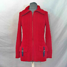 Ralph Lauren Red Cable-Knit Full-Zip Cardigan Sweater Buckle-Pockets Women's M