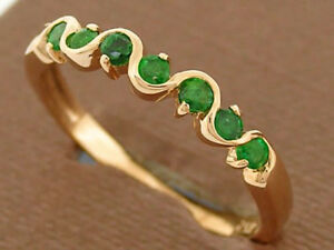 s R108 Genuine 9K Rose Gold Natural Emerald Wedding, Eternity Ring size 6.5