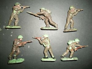 SIX 54MM PLASTIC WW2 FIGURES BY UNA