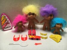 Vintage Set of 4 Troll Dolls - 1991 Tnt - with Clothes and Accessories - New Nos