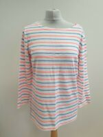 K90 WOMENS JOULES MARINERS GRADE WHITE BLUE PINK STRIPED L/SLEEVE TOP UK 12 EU40