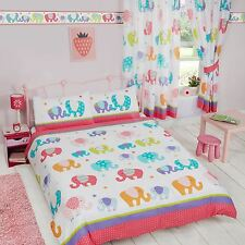 PATCHWORK ELEPHANT DOUBLE DUVET COVER SET MULTI GIRLS CHILDRENS