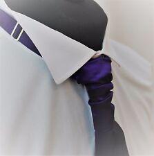 Cravat. Quality Satin Dark Purple Wedding Ruche Knot Tie-Cravat. Adjustable.