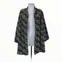 Alfred Dunner NEW Women's 20W Faux Fur Mink Jacket Coat Black Gray 3/4 Sleeves
